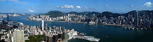 Hong Kong Victoria Harbour Pano View from ICC
