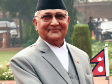 Khadga Prasad Sharma Oli in Madhesi Nepalese Convention in Madhesh district of Saptari in Southern Nepal