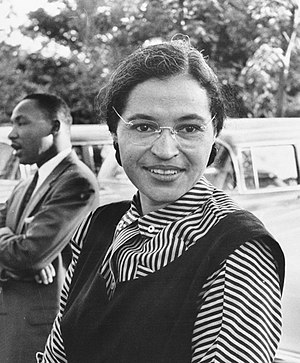 English: Photograph of Rosa Parks with Dr. Mar...
