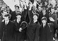 Os Beatles quando chegaram no Aeroporto JFK, na cidade de Nova Iorque, em 7 de fevereiro de 1964.