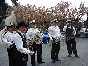 Small brass band in Jackson Square, New Orlean...