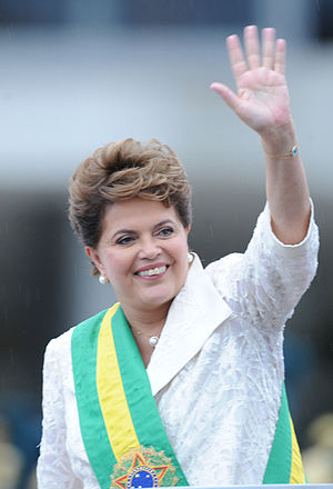 President of Brazil Dilma Rousseff wearing the...