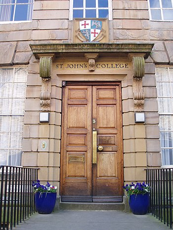 English: Doorway to St John's College, Durham.