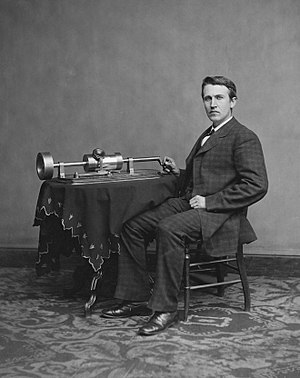English: Thomas Edison and his early phonograp...