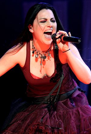 Evanescence at a concert. Showing Amy Lee.