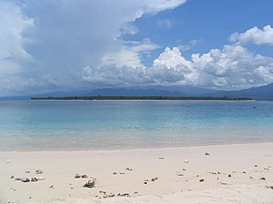 English: Gili Air seen from Gili Meno