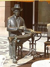 Pessoa's statue in front of famous Lisbon café...