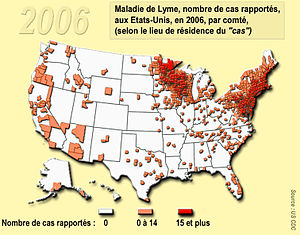 lyme desease, usa 2006, per county Français : ...