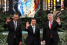 NAFTA leaders U.S. President Barack Obama, Mexican President Peña Nieto, and Canadian Prime Minister Stephen Harper, 2014