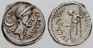 Julius Caesar, obverse; Victory on hand of Ven...