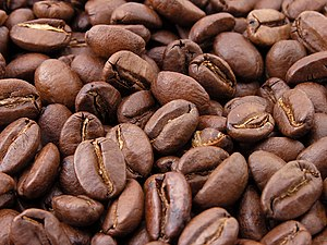 Roasted coffee beans, the world's primary sour...