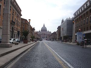 English: Walking to St Peter's Church in Vatic...