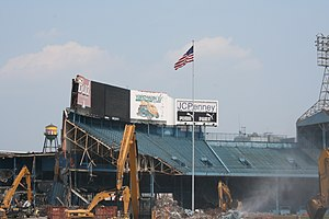View of Tiger Stadium's outfield bleachers bei...