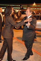 Winston Peters greets US Secretary of State Condoleezza Rice at Auckland Airport in 2008
