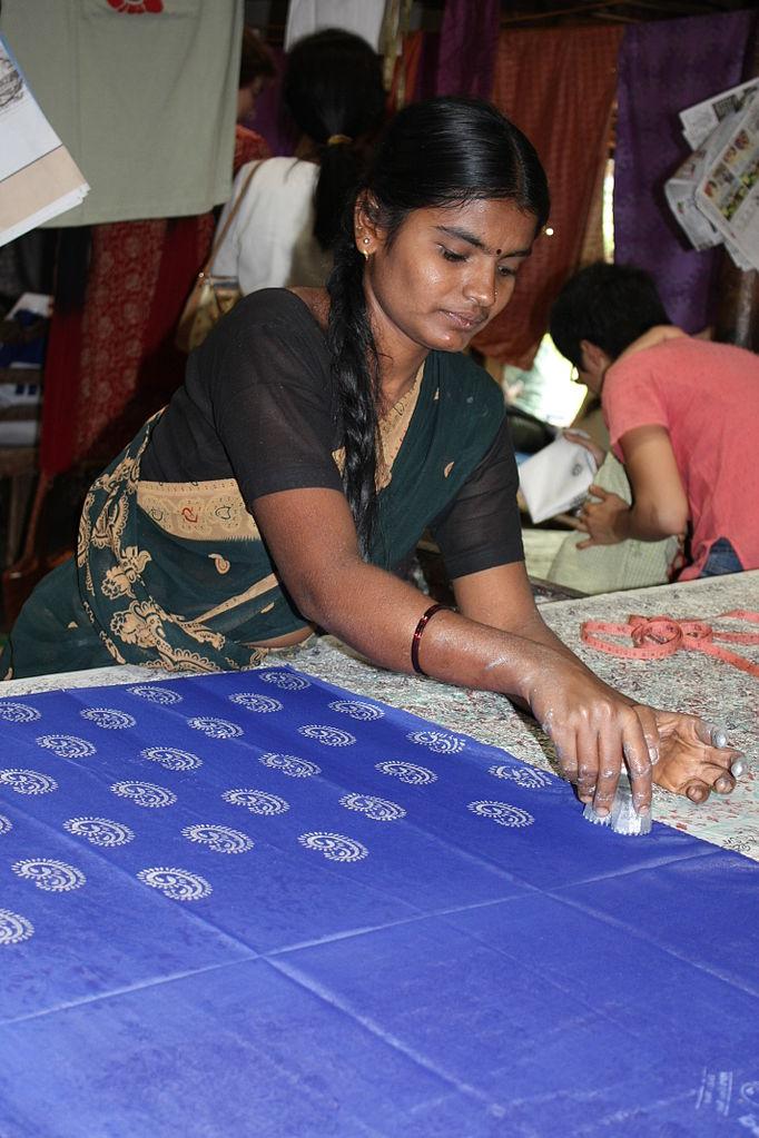 File Woman Doing Block Printing At Halasur Village