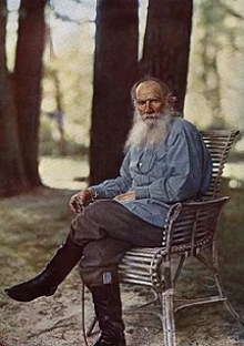 Tolstoy on 23 May 1908 at Yasnaya Polyana, four months before his 80th birthday.[1]