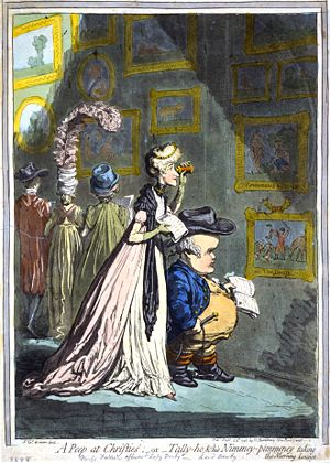 In A Peep at Christies (1796), James Gillray c...