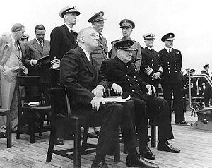 Roosevelt and Winston Churchill aboard HMS Pri...
