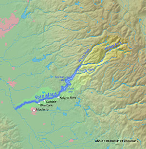 English: Map of the Stanislaus River, a major ...
