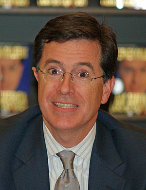 Stephen Colbert in New York City at Border's s...