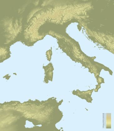 File Topographic map of Italy jpg   Wikipedia File Topographic map of Italy jpg