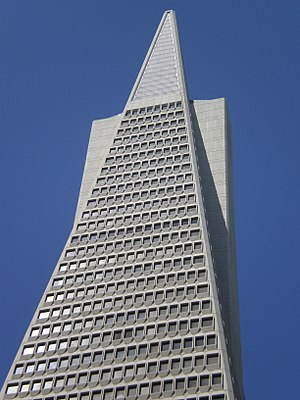 The top of the Transamerica Pyramid in San Fra...