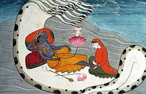 English: Vishnu and Lakshmi on Shesha Nāga, c....