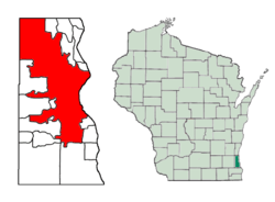 Location of Milwaukee inMilwaukee County, Wisconsin