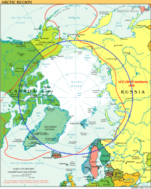 Česky: Severni polarni kruh. English: Arctic C...