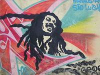 Pintura de Bob Marley en muro de una localidad en Brasil.