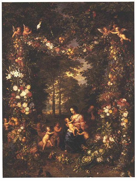 Brueghel Jan - Heilige Familie in einem Blumen und Früchtekranz