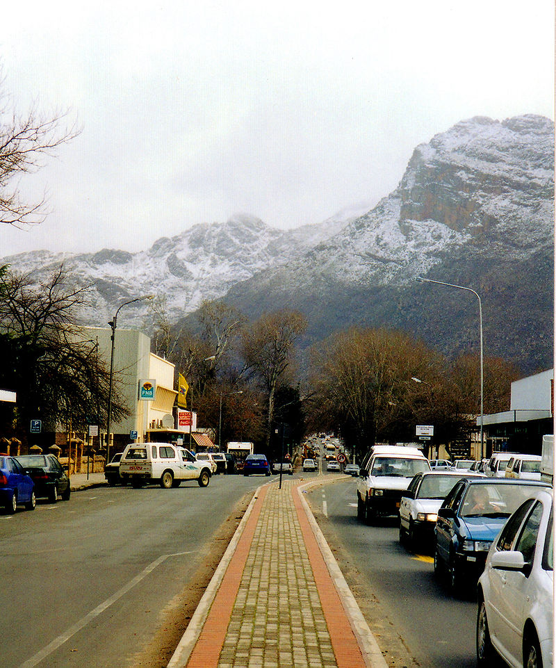 Town centre of Ceres with its main street on a winter day