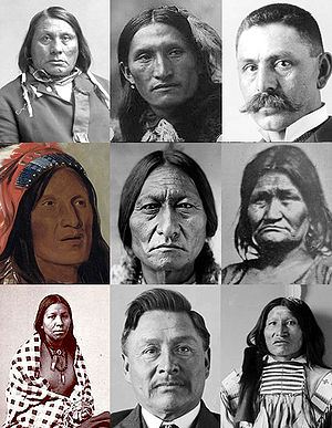 Collage of Lakota people from various public d...