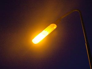 A sodium vapour light. This type is often used...