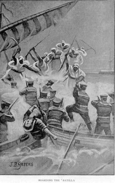File:Somali warriors board British naval batilla.jpg