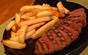 English: Steak and chips