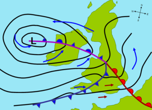 A weather map of an extratropical cyclone affe...