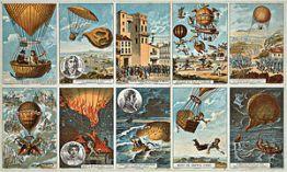 Havacılık tarihi: sağ üst köşesinden saatin ters yönünde: Mainz Kuşatması sırasında Komutan Coutelle (1795), Geçen yüzyılın hava seyrüsefer ütopyaları, Sébastien Lenormand'ın ilk paraşüt deneyimi, Montpellier (1783), Jacques Garnerin'ın paraşütle inmesi (1797), Gay-Lussac ve Biot 4.000 metre yüksekliğinde (1804), Napolyon'un taç giyme logolu balon (1804), Bayan Blanchard'ın ölümü (1819), Adriyatik Denizi'nde Zambecarri ve iki ortağı (1804), Harris'in ölümü (1824), İtalyan balıkçılar tarafından kurtarılan Arban (1846), kromlitograf, Paris, 1890-1900