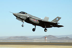 English: An F-35 Joint Strike Fighter, marked ...