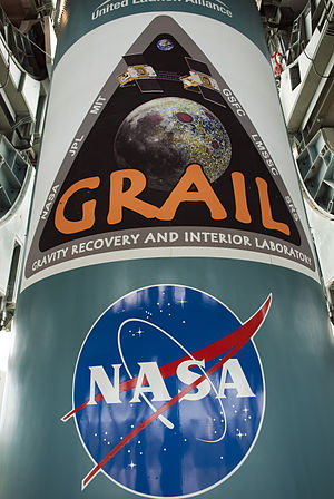 GRAIL mission logo on the first stage of the D...