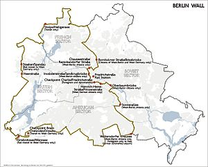 Position and course of the Berlin Wall and its...