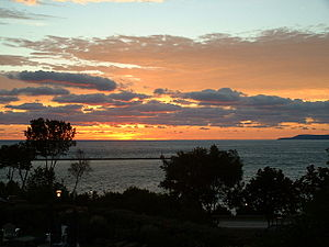 Little Traverse Bay at sunset, viewed from Pet...