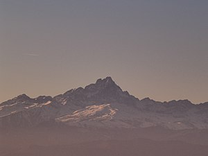 Monviso as seen from Mondovì, Cuneo, Italy