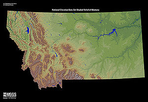 English: Shaded relief map of the U.S. state o...