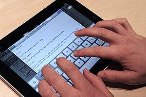 iPad with on display keyboard