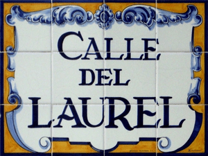 Panel which shows the name of the street where...