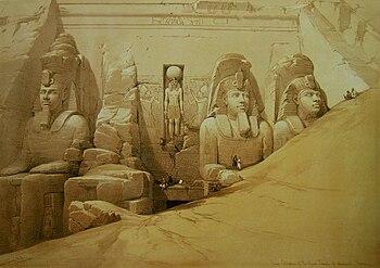 Templo de Abu Simbel. Litografia de David Roberts (1796-1864).