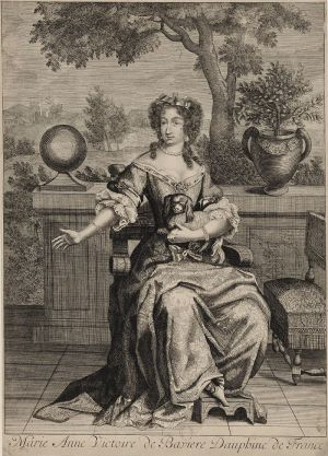 Drawing of Marie Anne Victoire de Bavière, daughter in law of Louis XIV and Dauphine of France.jpg