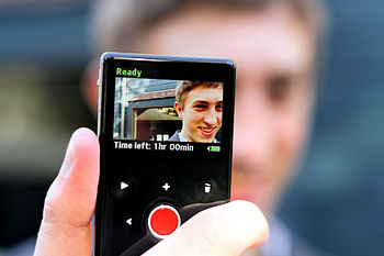The rear LCD display on a Flip Video camrea
