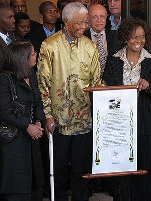 English: Nelson Mandela, former President of S...